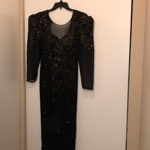 Ankle Length Black Sequins Evening Gown